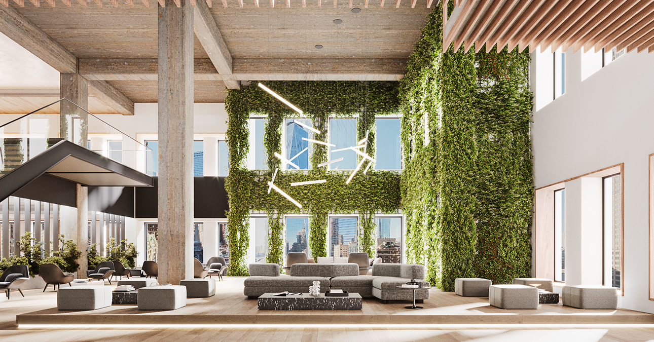 Double-height arrival experience and gathering space - 222 Broadway
