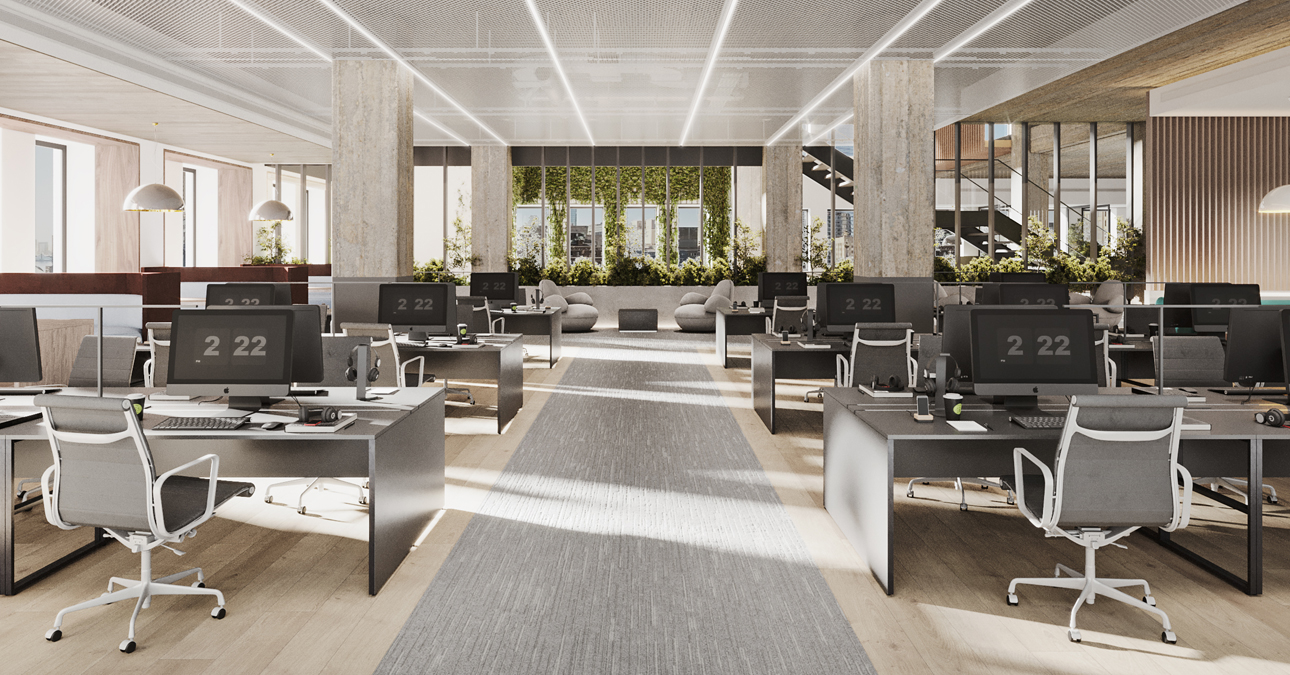 Open desking with gathering space and conference rooms - 222 Broadway