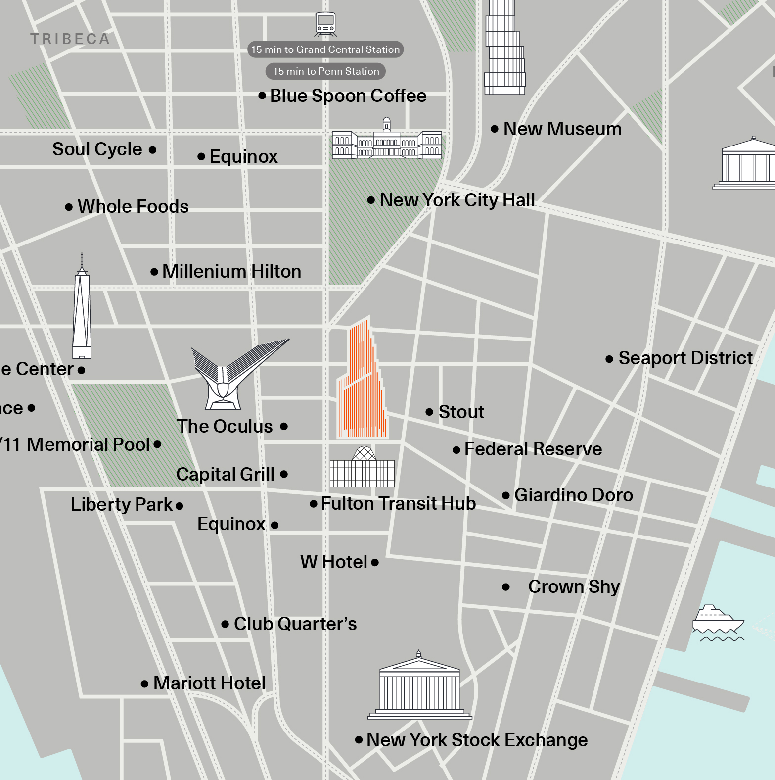 Downtown New York City Landmarks map - 222 Broadway